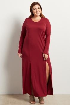 c93ac04d45 Burgundy Solid Plus Size Maxi Dress