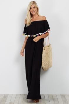 b78b0d9eba636 Black Pom Trim Off Shoulder Maternity Maxi Dress