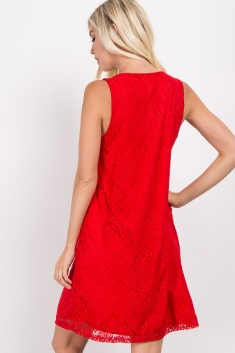 74e28202f2f Red Sleeveless Lace Overlay Maternity Dress