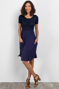 4a2d1c3c0a2 Navy Blue Short Sleeve Lace Top Maternity Dress