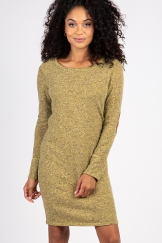 075502736485c Type something above to find products. Heather Yellow Suede Elbow Patch  Sleeve Dress