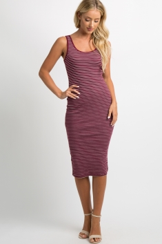 0f9396c5673f Burgundy Striped Fitted Ribbed Maternity Midi Dress