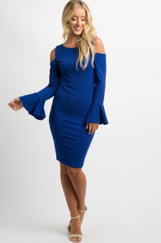 a991c218a86c Black Cold Shoulder Bell Sleeve Fitted Maternity Dress