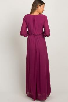 557e4308ca6 Magenta Chiffon Long Sleeve Pleated Maternity Maxi Dress
