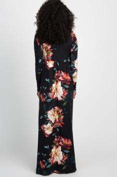 5c1276adbb086 Black Floral Front Twist Long Sleeve Maternity Maxi Dress