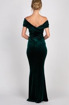 0d555b9ef29 Forest Green Velvet Off Shoulder Mermaid Evening Gown