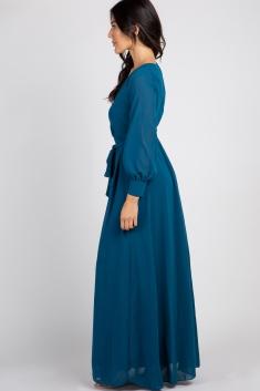 54f508cb0ff8 Teal Chiffon Long Sleeve Pleated Maternity Maxi Dress