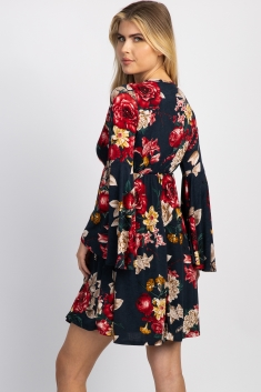 6fa9b5e24dd Black Floral Bell Sleeve Maternity Wrap Dress