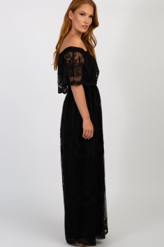 039a7d527c70e Black Lace Mesh Overlay Off Shoulder Maternity Maxi Dress