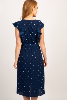 488a3ff96ad00 Navy Polka Dot Ruffle Sleeve Maternity Dress