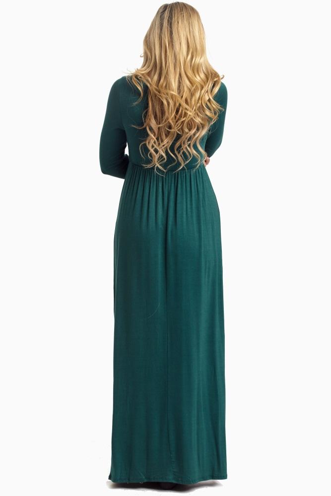 5ecb9d04142c3 Forest Green Long Sleeve Basic Maternity Maxi Dress