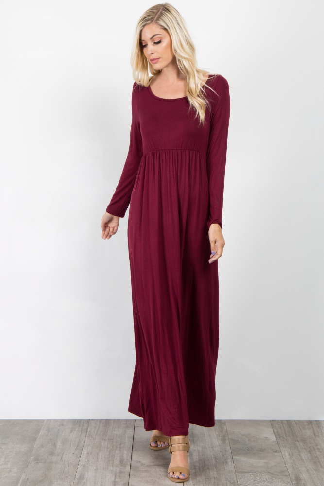 2e4ab4a14f Burgundy Long Sleeve Basic Maternity Maxi Dress