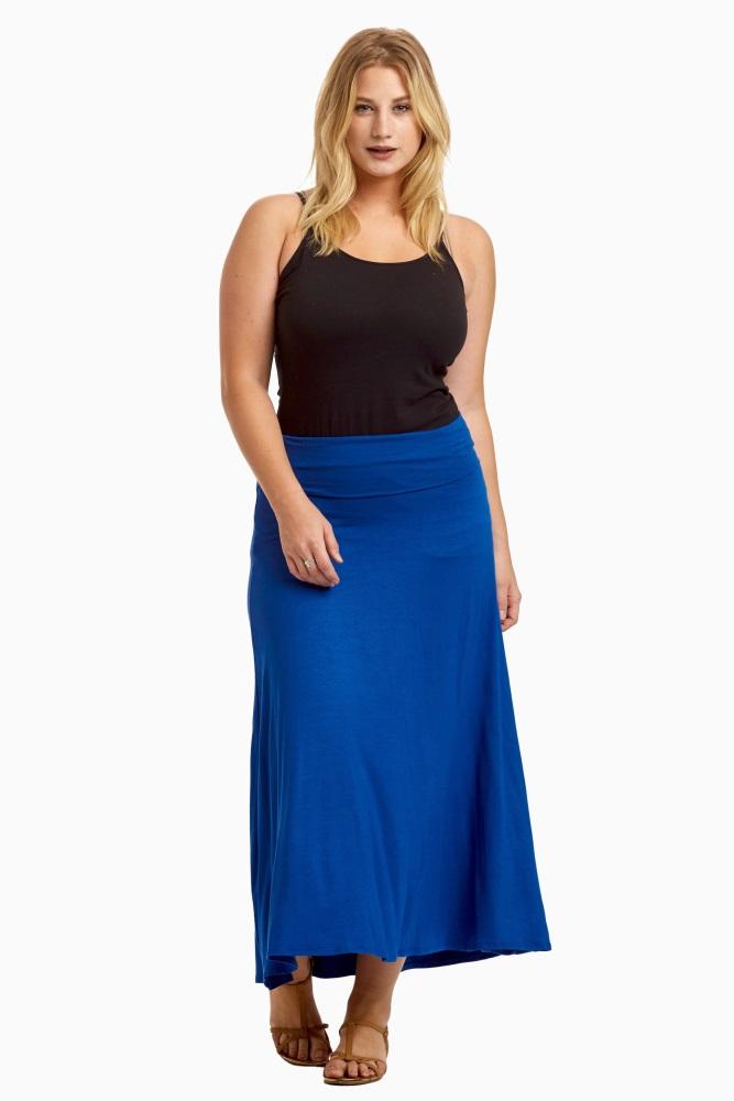 72f06e0fb6ed Royal Blue Basic Plus Size Maternity Maxi Skirt