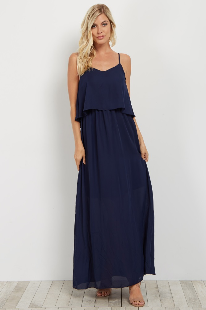 2c8040345c Navy Blue Overlay Chiffon Maternity Maxi Dress