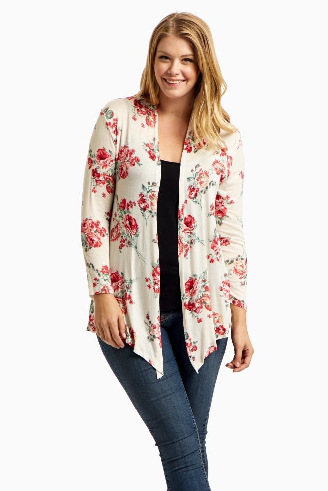 34ee4ed9d053e Ivory Floral Print Plus Maternity Cardigan