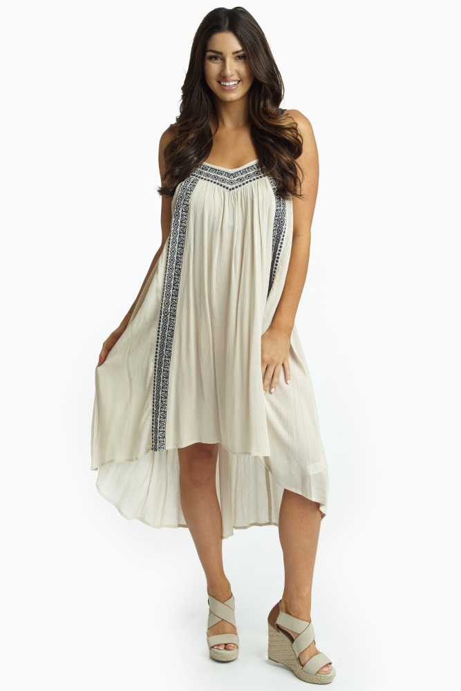 324f5827011 Beige Navy Embroidered Linen Maternity Dress