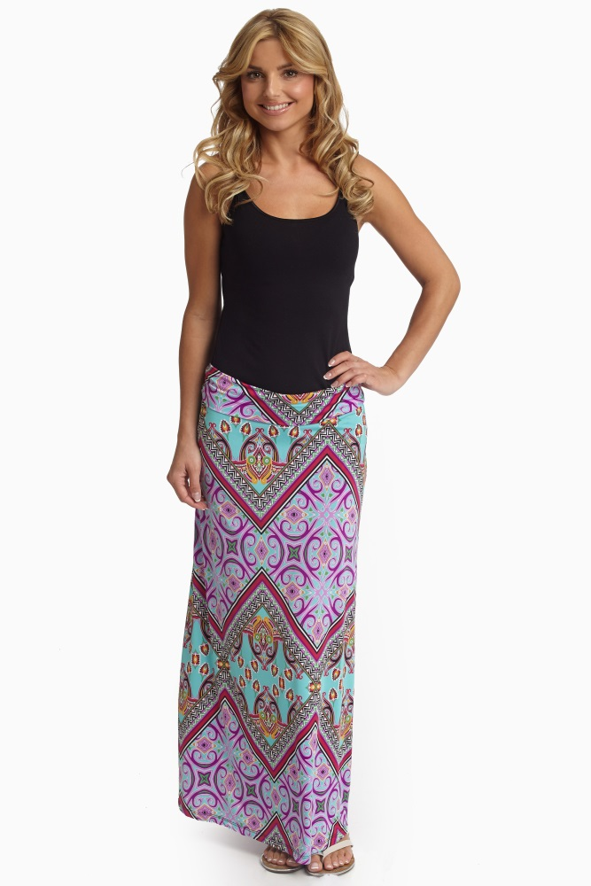 bca20d40e Mint Green Vibrant Multi Color Printed Maternity Maxi Skirt