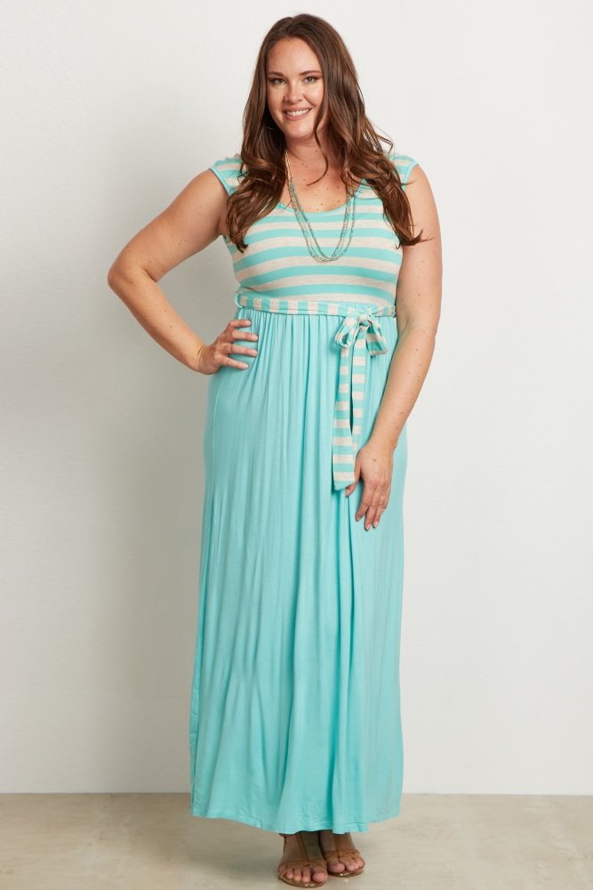 Mint Striped Top Sash Tie Plus Size Maxi Dress
