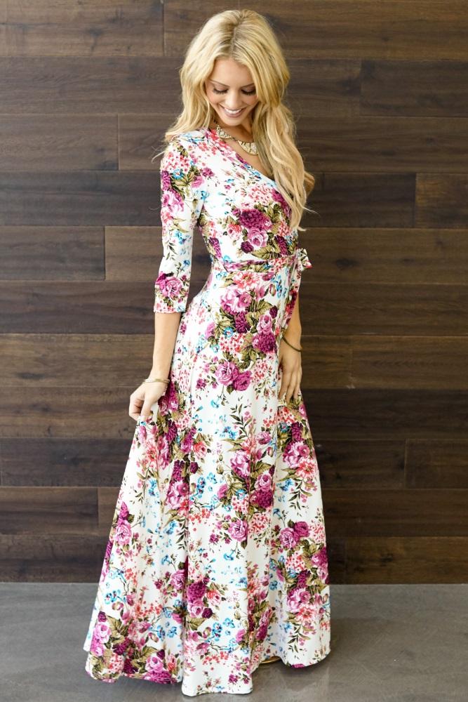 3ec40c7749136 Ivory Floral Draped 3/4 Sleeve Maternity Maxi Dress