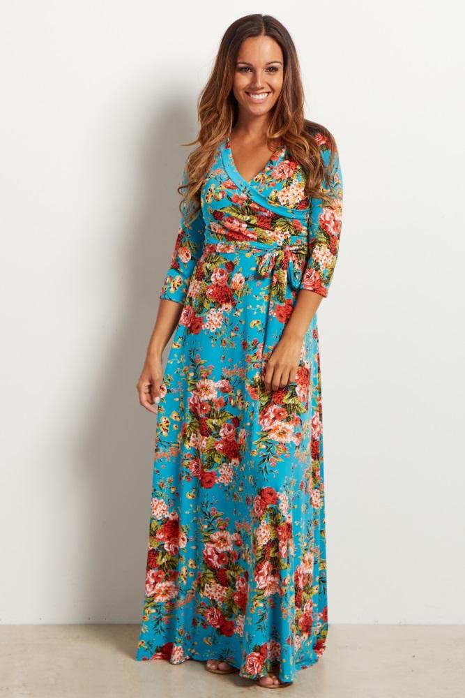 93079ab6a6 Aqua Floral Draped 3 4 Sleeve Maternity Maxi Dress