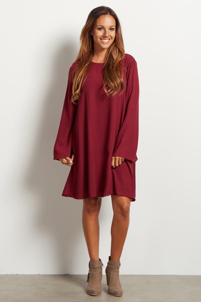 82f50a0f5caad Burgundy Chiffon Bell Sleeve Maternity Dress