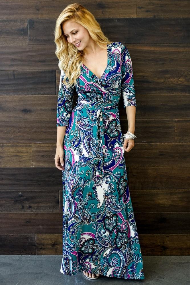 96b4a08da1d6 Teal Bohemian Draped 3/4 Sleeve Maternity Maxi Dress