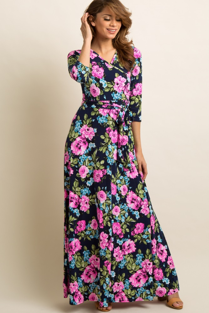 a0b4ee4156 Navy Neon Floral Draped 3 4 Sleeve Maternity Maxi Dress