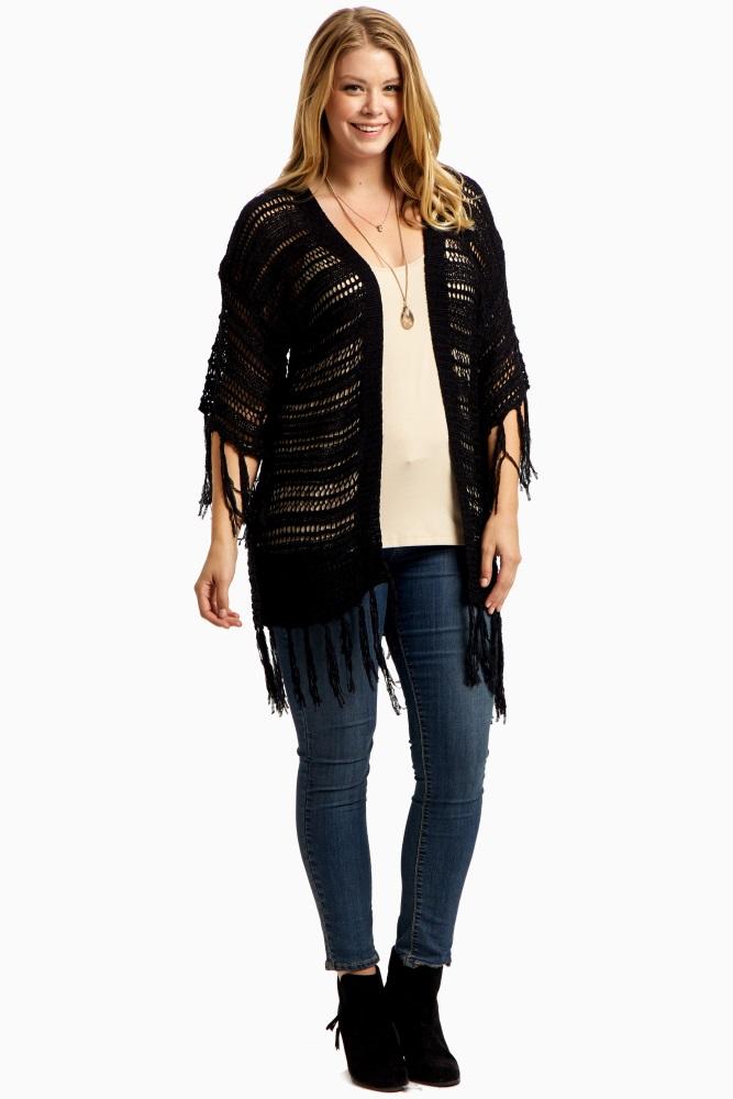 Black Open Knit Fringe Plus Size Long Cardigan