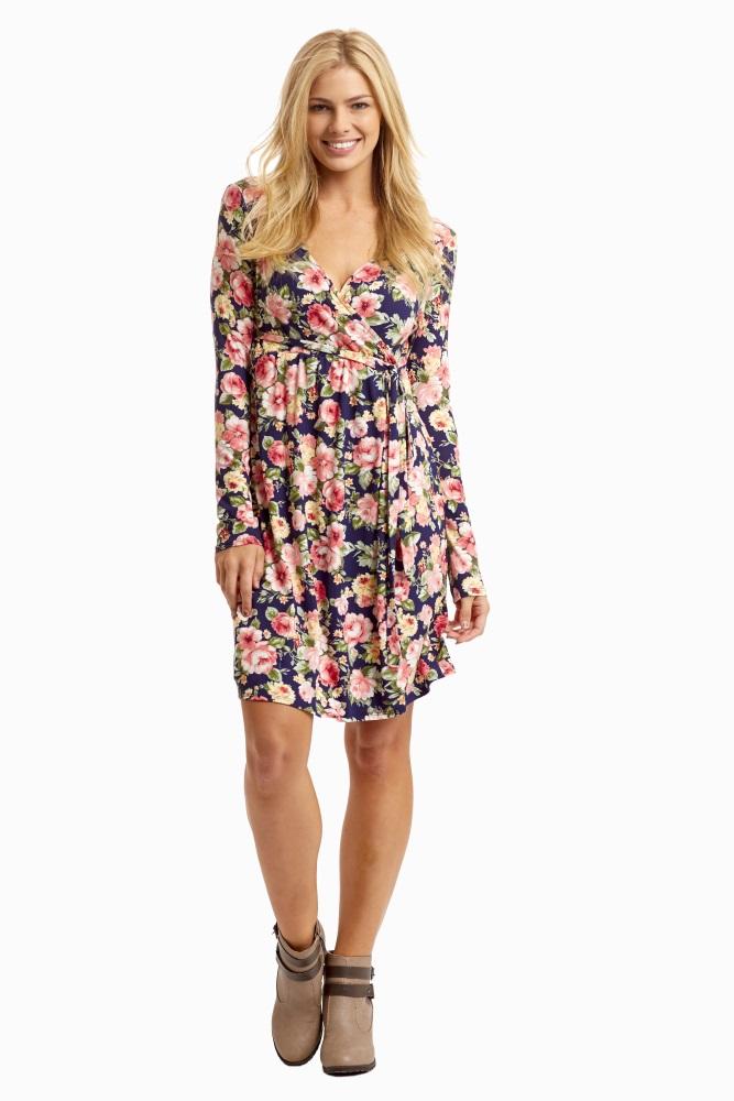 9d74290ada253 Navy Blue Floral Tie Side Maternity/Nursing Dress