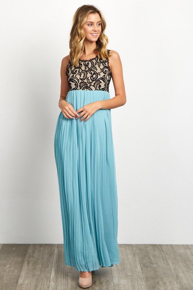 092f8d1b8f6 Dusty Aqua Pleated Chiffon Lace Top Maternity Maxi Dress