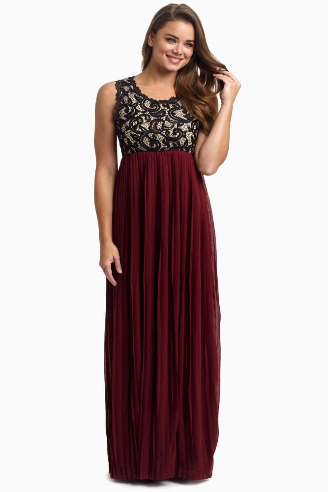 e302b33bf5c Burgundy Pleated Chiffon Lace Top Maternity Maxi Dress