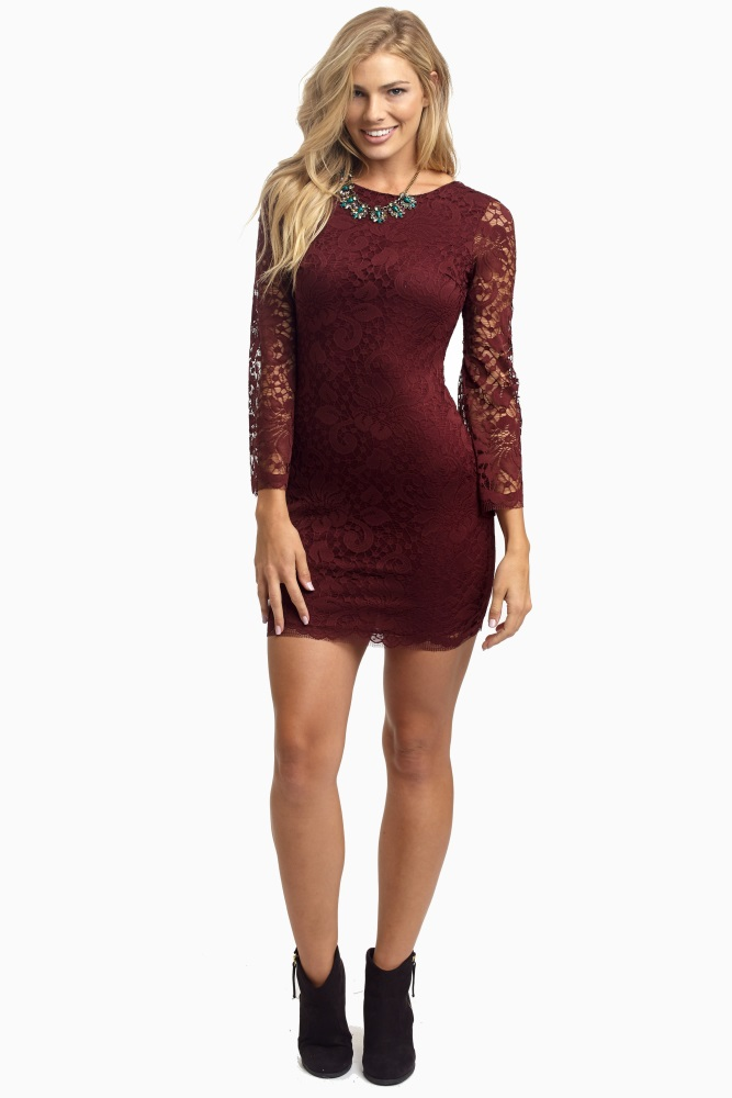 Burgundy Lace Long Sleeve Dress