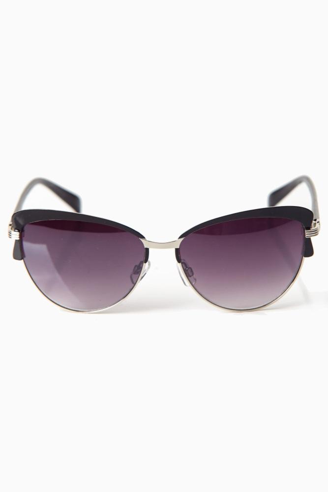 13908a1d715fa7 Black Gold Accent Cat Eye Sunglasses