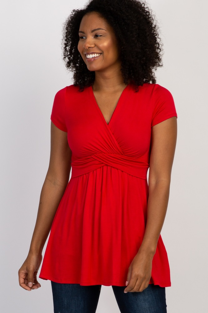 95784796c1d Red Draped Front Maternity Nursing Top