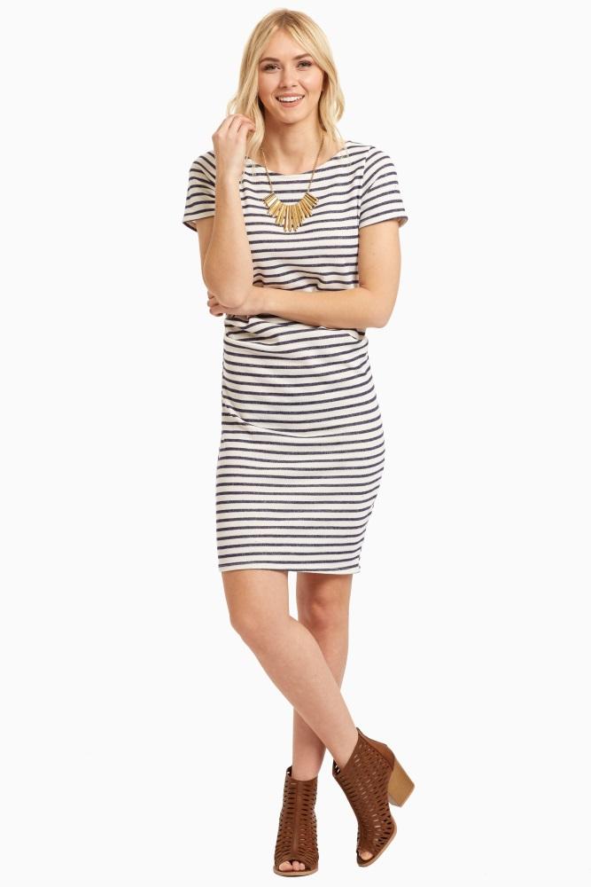 154b897ebfbda Tall Navy Striped Fitted Short Sleeve Maternity Dress