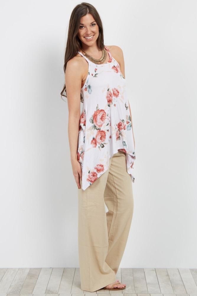 8006eede81faf Beige Linen Maternity Pants