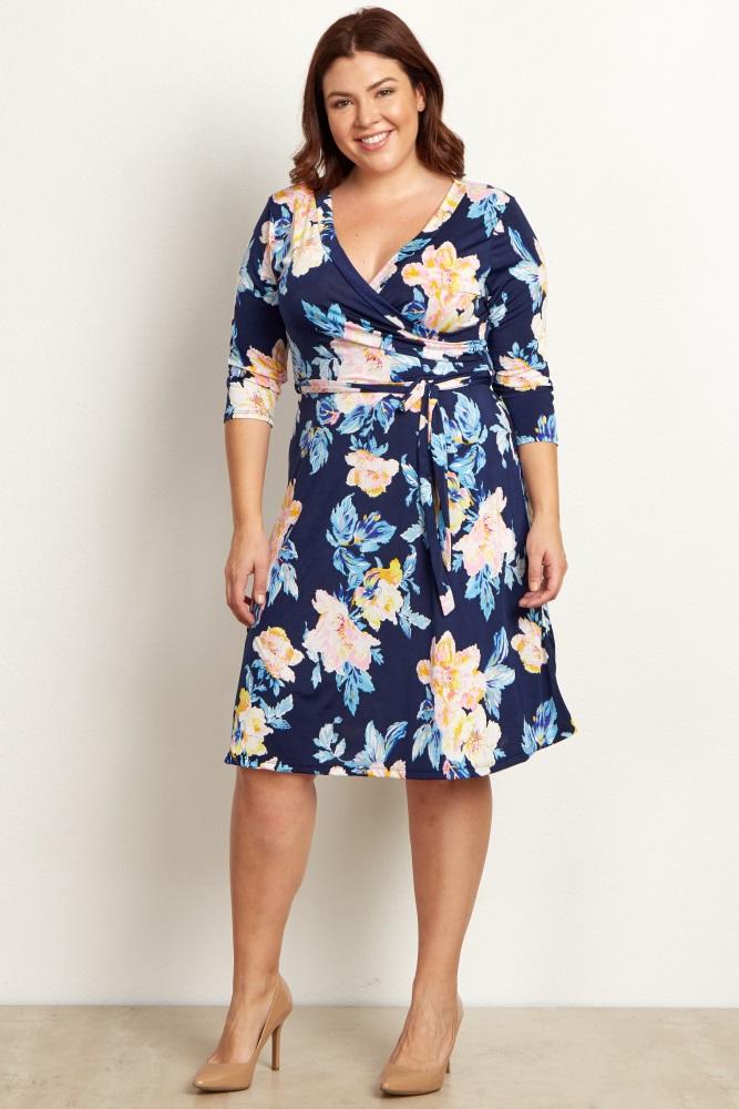 d44f621b915 Navy Blue Floral Wrap Plus Size Maternity Nursing Dress