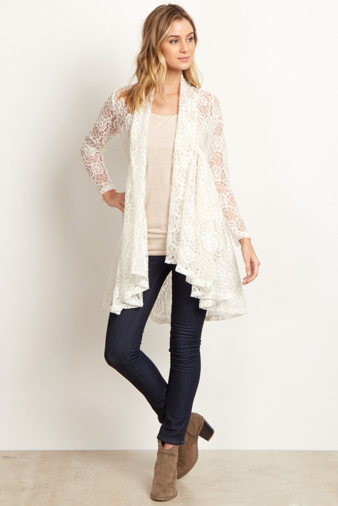a696bc8bfdc73e Ivory Floral Lace Long Maternity Cardigan