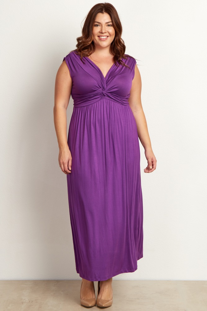 f97787c545b85 Purple Draped Plus Size Maternity/Nursing Maxi Dress