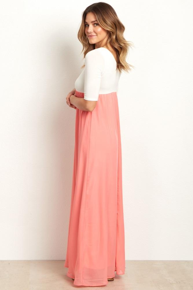 26cf92bc629 Coral Chiffon Colorblock Maternity Maxi Dress