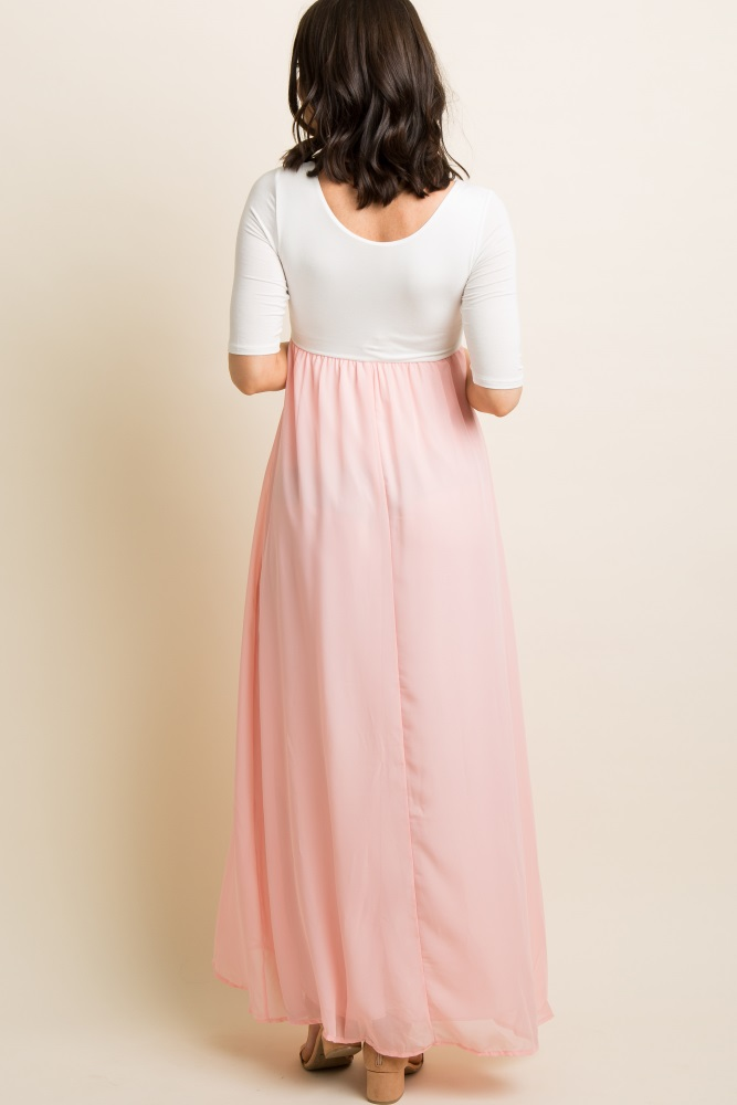 2123837ce09e2 Light Pink Chiffon Colorblock Maternity Maxi Dress