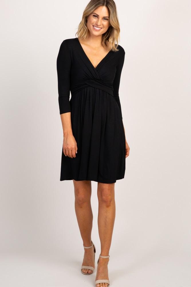 0f2aa15f6b5 Black Wrap 3 4 Sleeve Maternity Nursing Dress
