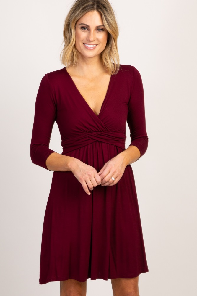 f63341559d5 Burgundy 3 4 Sleeve Wrap Maternity Nursing Dress