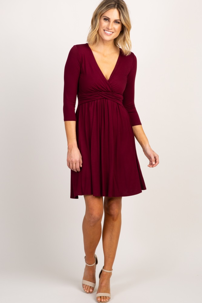 820d8ac16e830 Burgundy 3/4 Sleeve Wrap Maternity/Nursing Dress