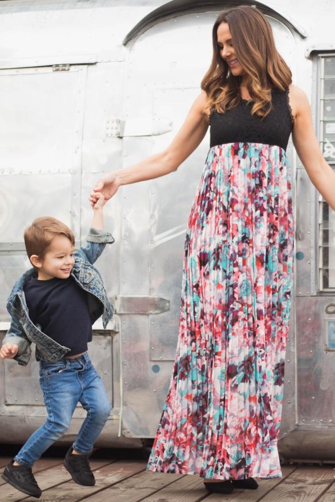 250ebaa9f48 Black Lace Pleated Floral Chiffon Maternity Maxi Dress