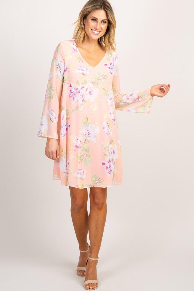 07deb6bf02341 Pink Floral Printed V Neck Chiffon Maternity Dress