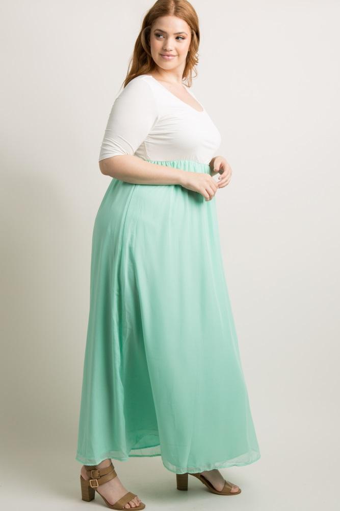 cb74c133dd0 Mint Chiffon Colorblock Plus Maternity Maxi Dress