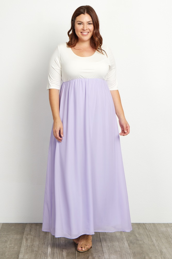 f90c8adf401 Lavender Chiffon Colorblock Plus Maternity Maxi Dress