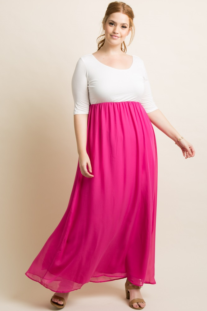 8096278a197d9 Magenta Chiffon Colorblock Plus Maternity Maxi Dress