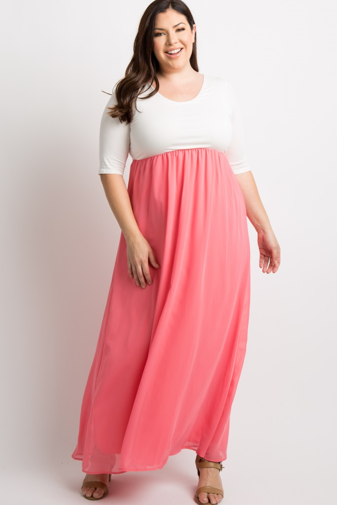b46d850c2f7f0 Coral Chiffon Colorblock Plus Maternity Maxi Dress